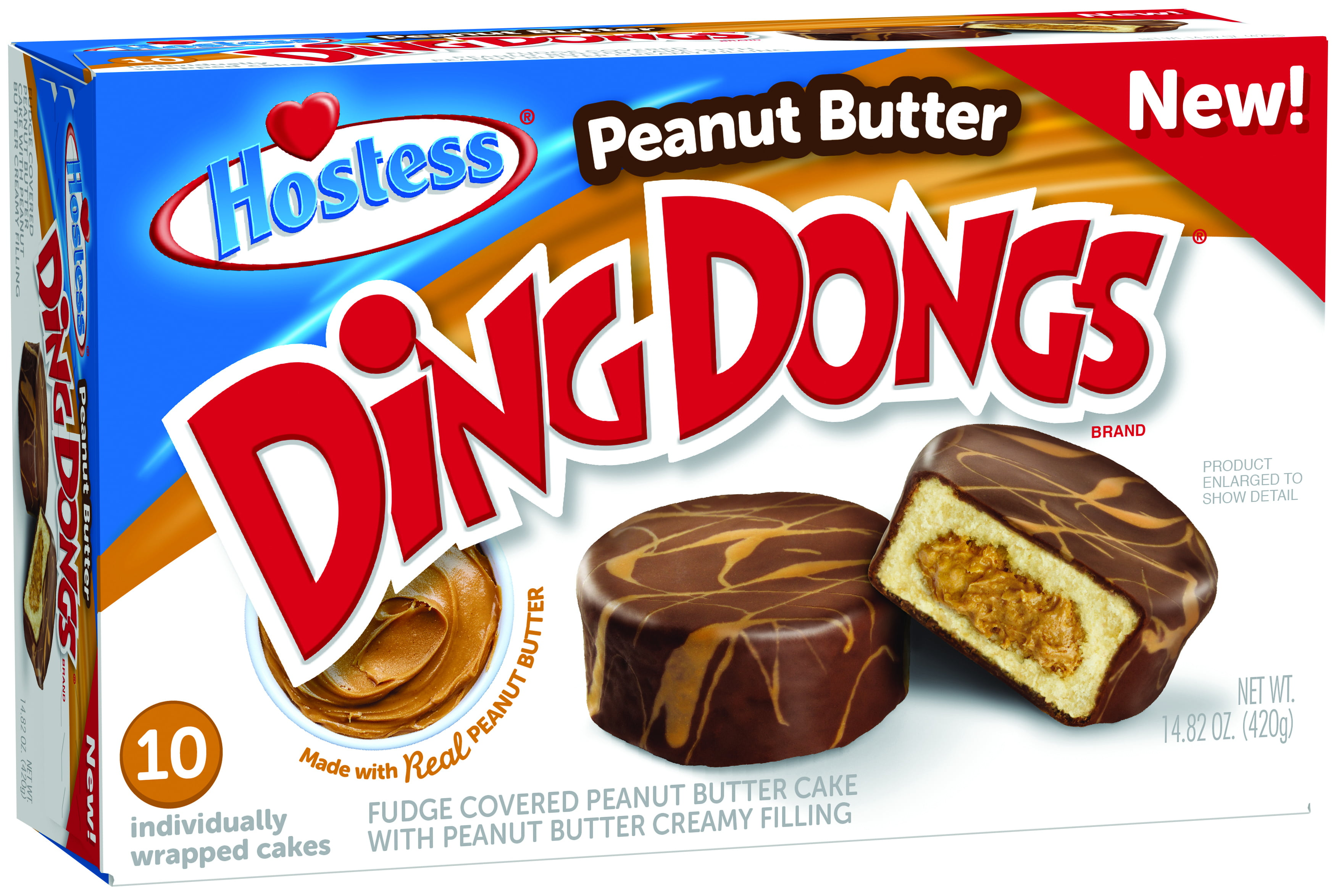 Hostess Peanut Butter Ding Dong 14.82oz, 10ct Box ...