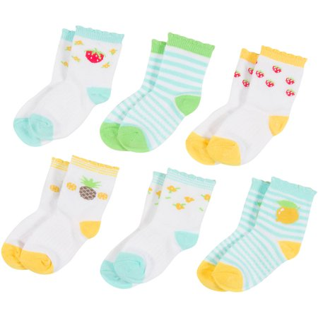 Peds Toddler Girls Growing Socks, Strawberries and Pineapples, 6 Pairs
