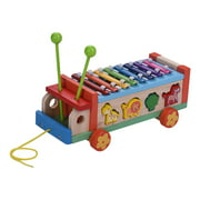 Multifunctional Wooden Toy Car with 8 Notes Xylophone Glockenspiel 7 Cute Animal-shaped Blocks Early Educational Toy Percussion Instrument Musical Gift for Kids Children