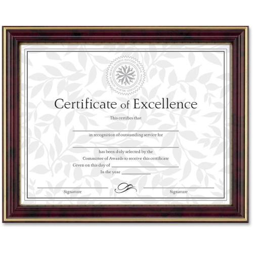 "Dax Border Design Document Frame - 11"" x 8.50"" Frame - Wall Mountable - Horizontal, Vertical Orientation - Mahogany, Gol"