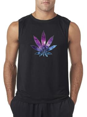 Trendy USA 1378 - Men's Sleeveless Galaxy Marijuana Leaf Pot Plant High Medium Black