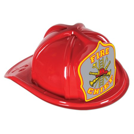 Club Pack of 48 Red Fire Chief Hats with Gray Shield - Medium