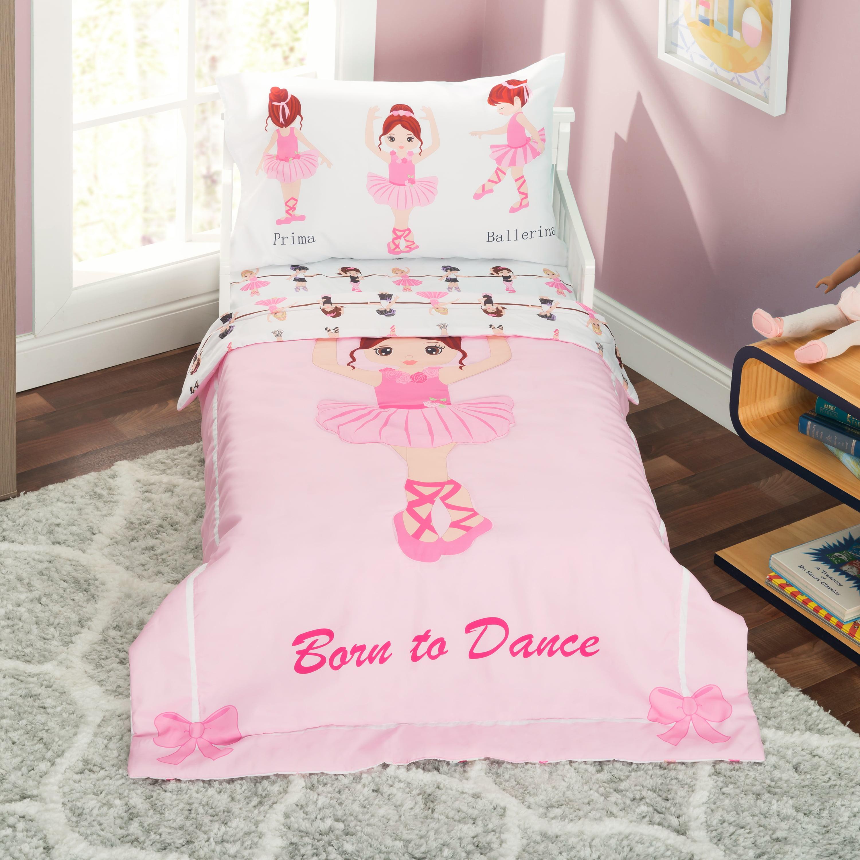 Everyday Kids 4 Piece Toddler Bedding Set -Born to Dance Ballerina