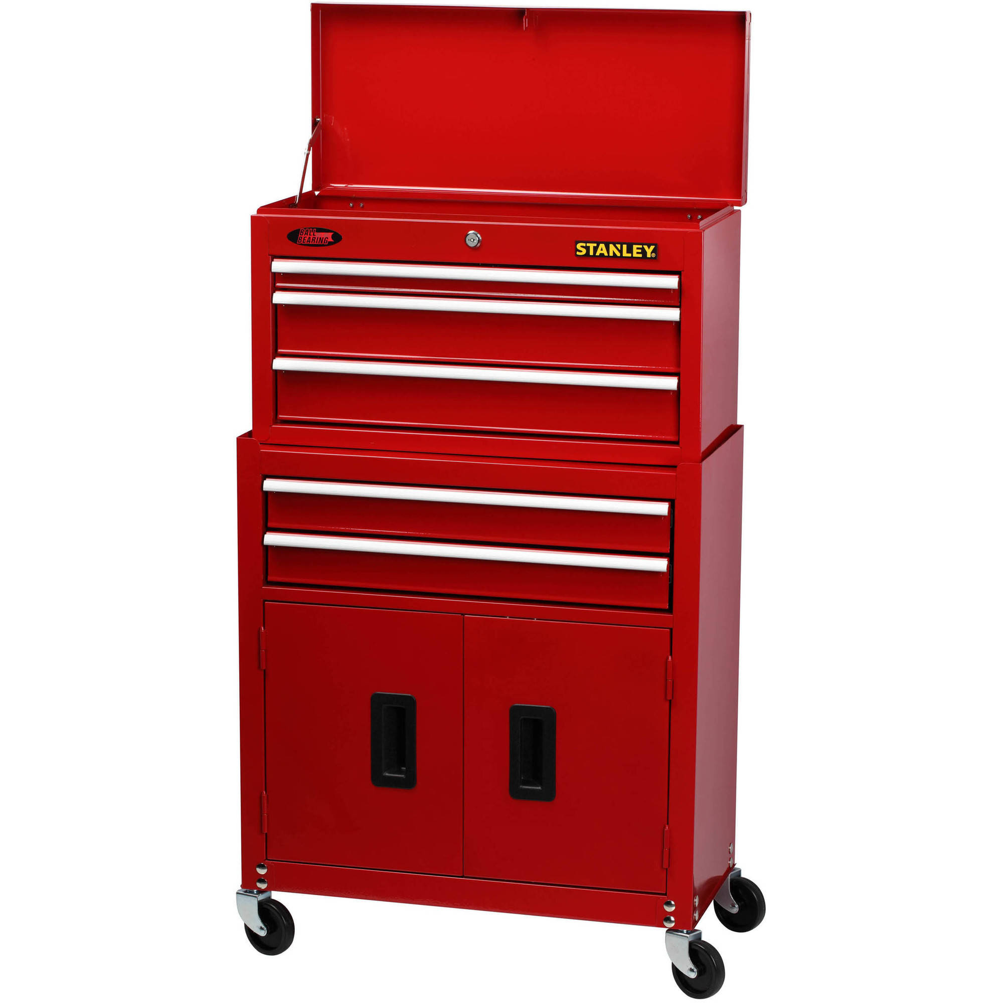 Stanley 5 Drawer Chest And Cabinet Combo With Bi Fold Doors Red Walmart Com