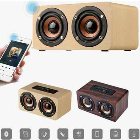Retro Wooden Subwoofer Wireless bluetooth Speaker HIFI Stereo B Dual on