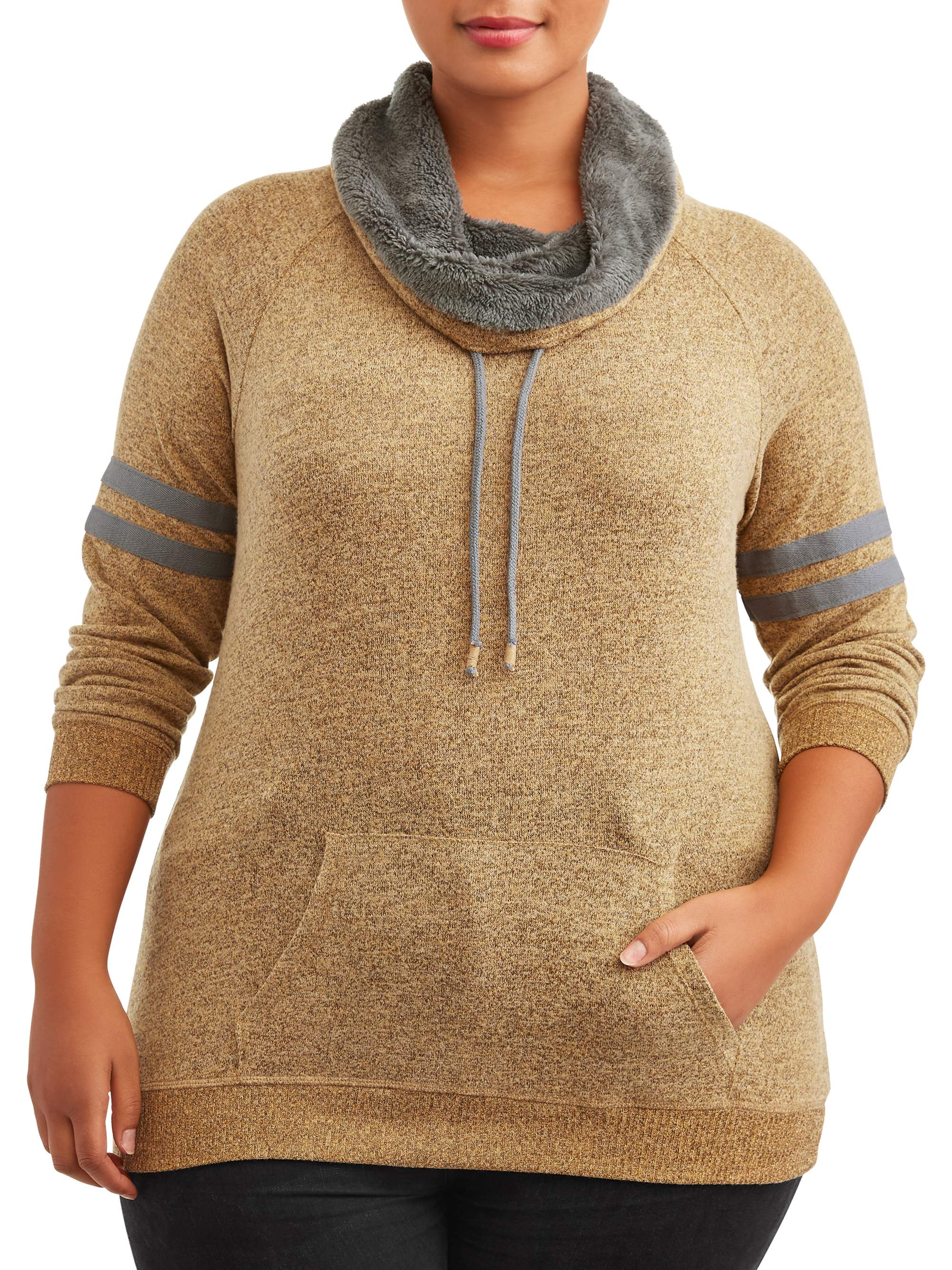 Juniors' Plus Size Funnel Neck Pullover Hoodie with Kangaroo Pocket