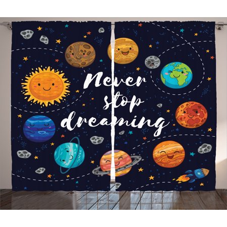Quotes Decor Curtains 2 Panels Set, Cute Outer Space Planets and Star Cluster Solar Moon and Comets Sun Cosmos Image, Window Drapes for Living Room Bedroom, 108W X 90L Inches, Multi, by Ambesonne - Outer Space Decor