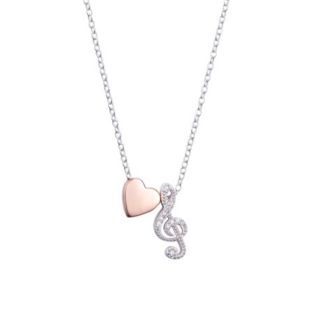 Two-Tone Sterling Silver CZ Treble Clef & Heart Slider Pendant Necklace