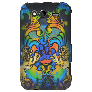 Rubberized Protector Hard Shell Snap On Case for HTC Wildfire S CDMA - Rainbow Lion Sculpture