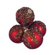Northlight Seasonal Glitter Sequin Beaded Shatterproof Christmas Ball Ornament (Set of 4)