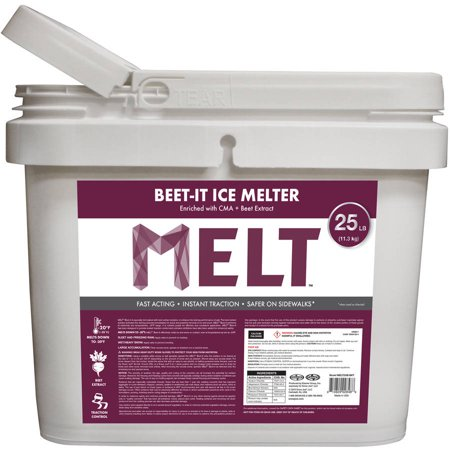 (MELT 25 lb Bucket Beet-It Ice Melter with CMA & Beet Extract)