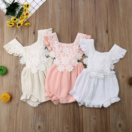 Infant Newborn Baby Girls Lace Floral Romper Bodysuit Sleeeless Clothes Outfits ()