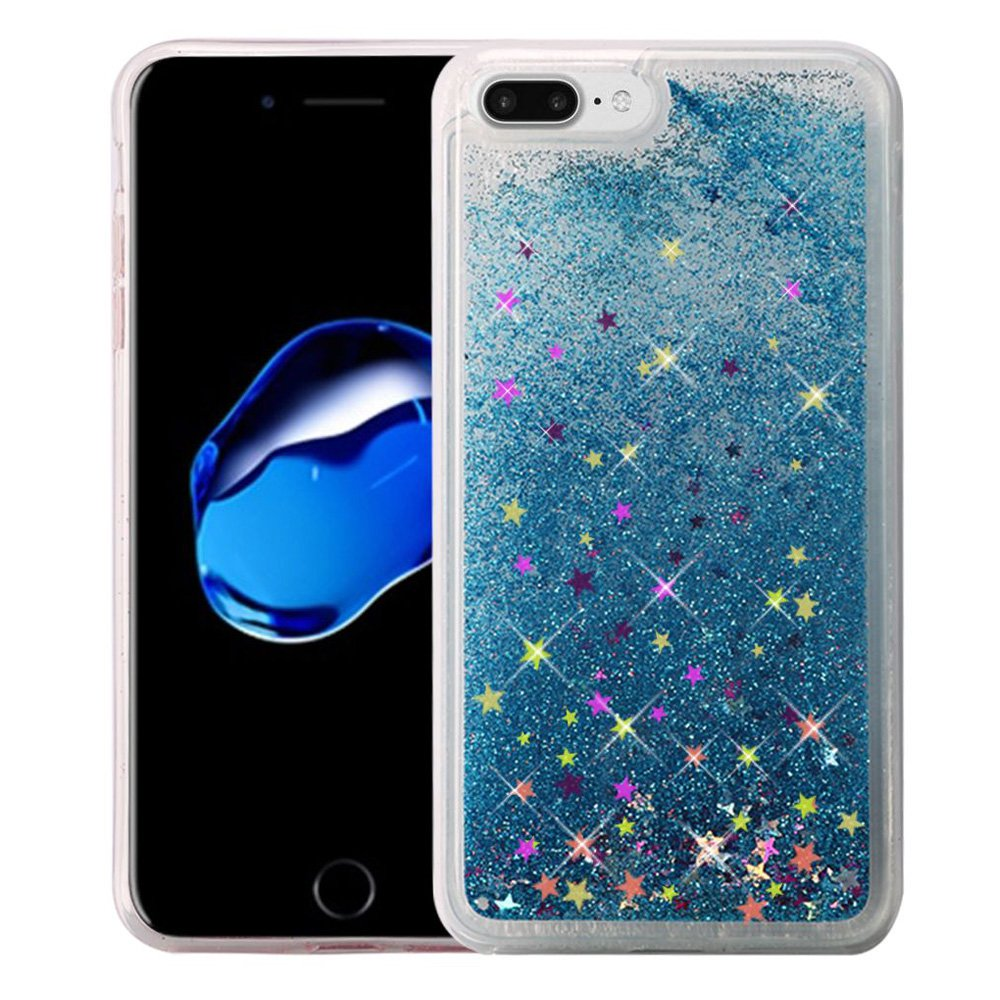 iPhone 7 Plus Premium Luxury Glitter Sparkle Bling Hybrid Quicksand Designer Case Shining Fashion Style TPU Cover for Apple iPhone 7 Plus - Light Blue, Flexible, Slim, ShockProof