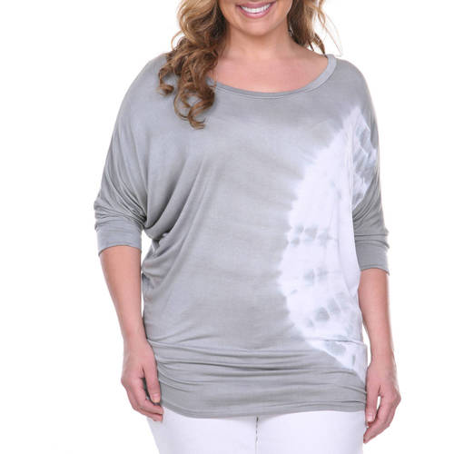 Women's Plus Size Tie Dye Bat Sleeve Top