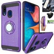 Phone Case for Walmart Family Mobile Samsung Galaxy A20 Smartphone/ A30 A305 Case Car Mount + Shock Absorbing Slim Cover Ring-Holder (Slim Ring Purple +Car Mount)