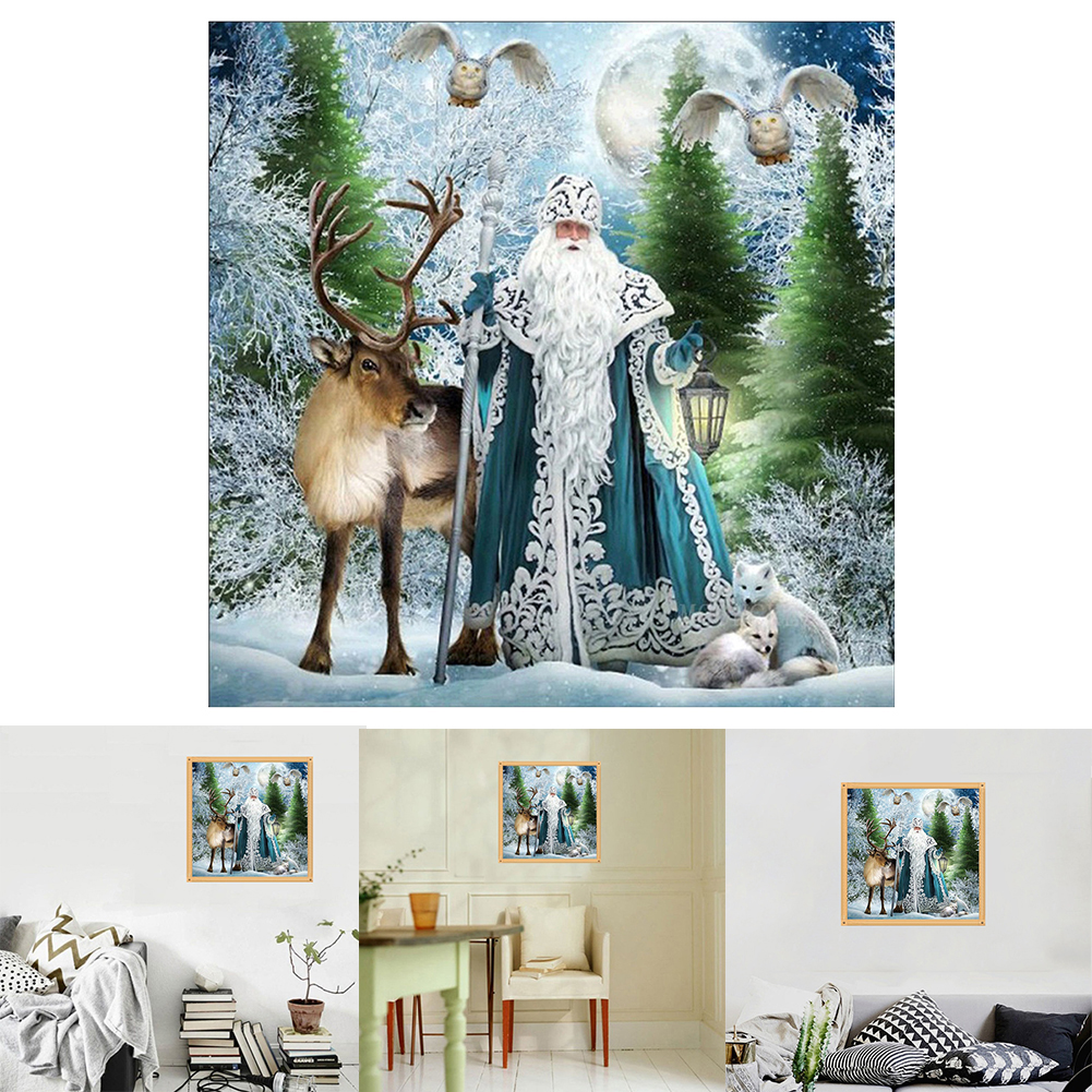 Girl12Queen Snowy World Santa Claus 5D Diamond Painting DIY Cross Stitch Home Decor Picture