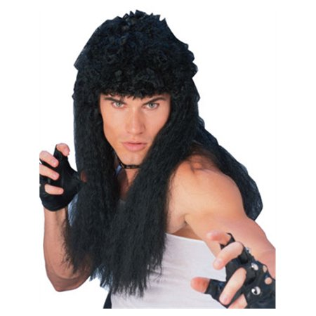 Adult Mens Costume Long Black Curly Rambo Mullet Wig - Mullet Wigs