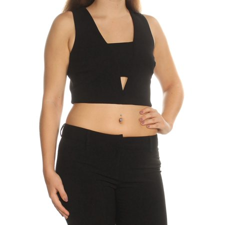 AS YOU WISH Womens Black Cut Out Sleeveless Square Neck Crop Top Crop Top Top  Size: - Wish Size Chart