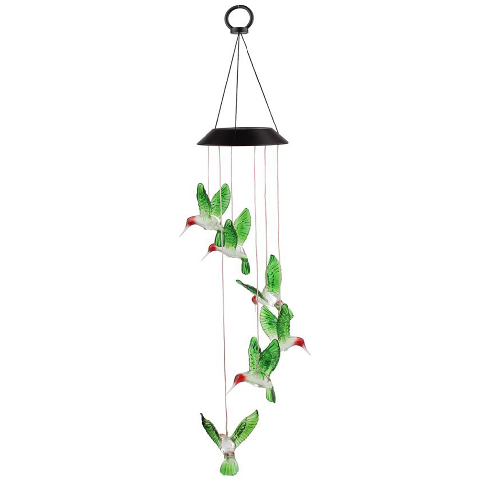 Solar Changing Color Hummingbird Wind Chime, EEEKit Solar Powered LED Hanging Lamp Windchime Light for Outdoor Indoor... by EEEKit