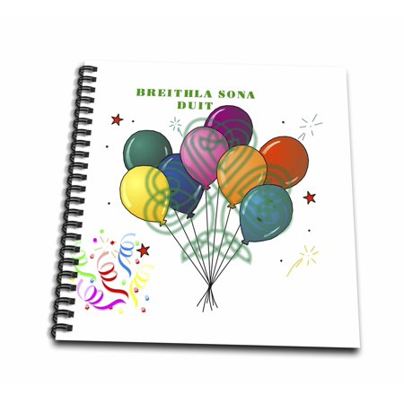 3dRose Image of Happy Birthday In Irish With Balloons Shamrock And Confetti - Memory Book, 12 by 12-inch (Shamrock Balloons)
