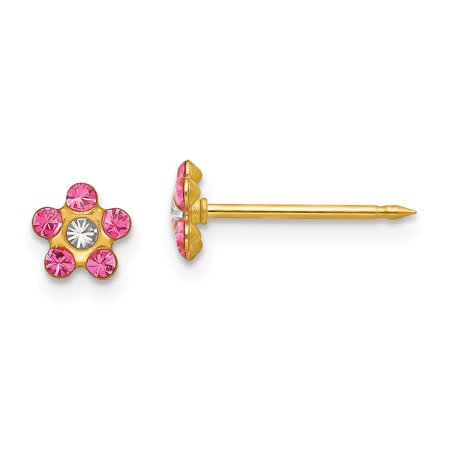 30f656e42 14k Yellow Gold Rose/aurora Borealis Crystal Flower Post Stud Earrings Tool  Ear Piercing Supply ...