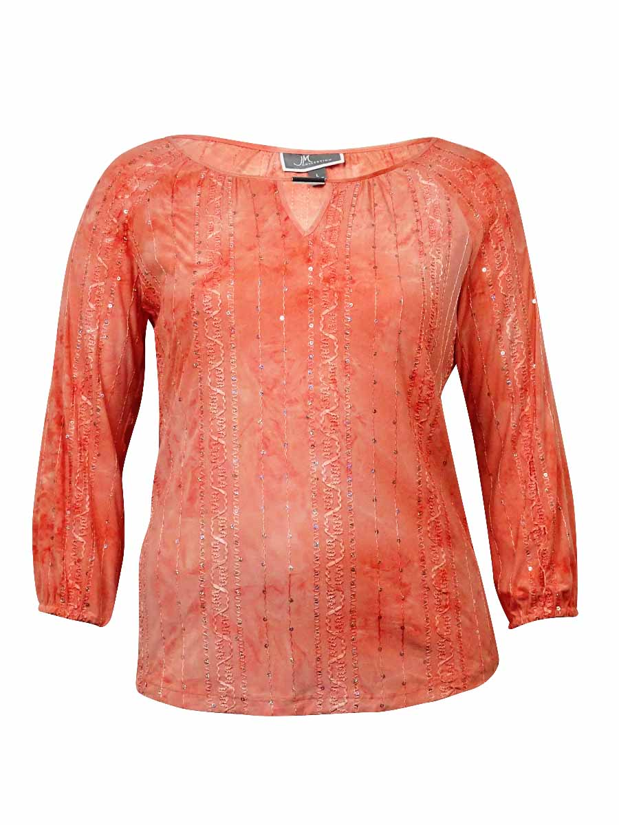 Women's Keyhole Sequined Textured Jersey Top