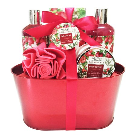 Best Mothers Day Bath and Body Gift Set for Women, Aromatherapy Spa Gift Basket with Organic Pomegranate Scent by Lovestee includes Shower Gel, Bubble Bath, Body Lotion, Bath Salt,