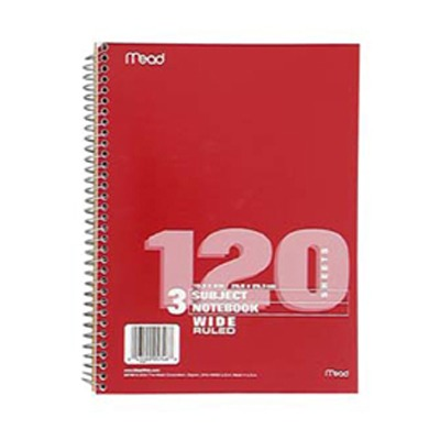 NOTEBOOK SPIRAL 3 SUBJECT 120 CT SCBMEA05746-21 (pack of 21)