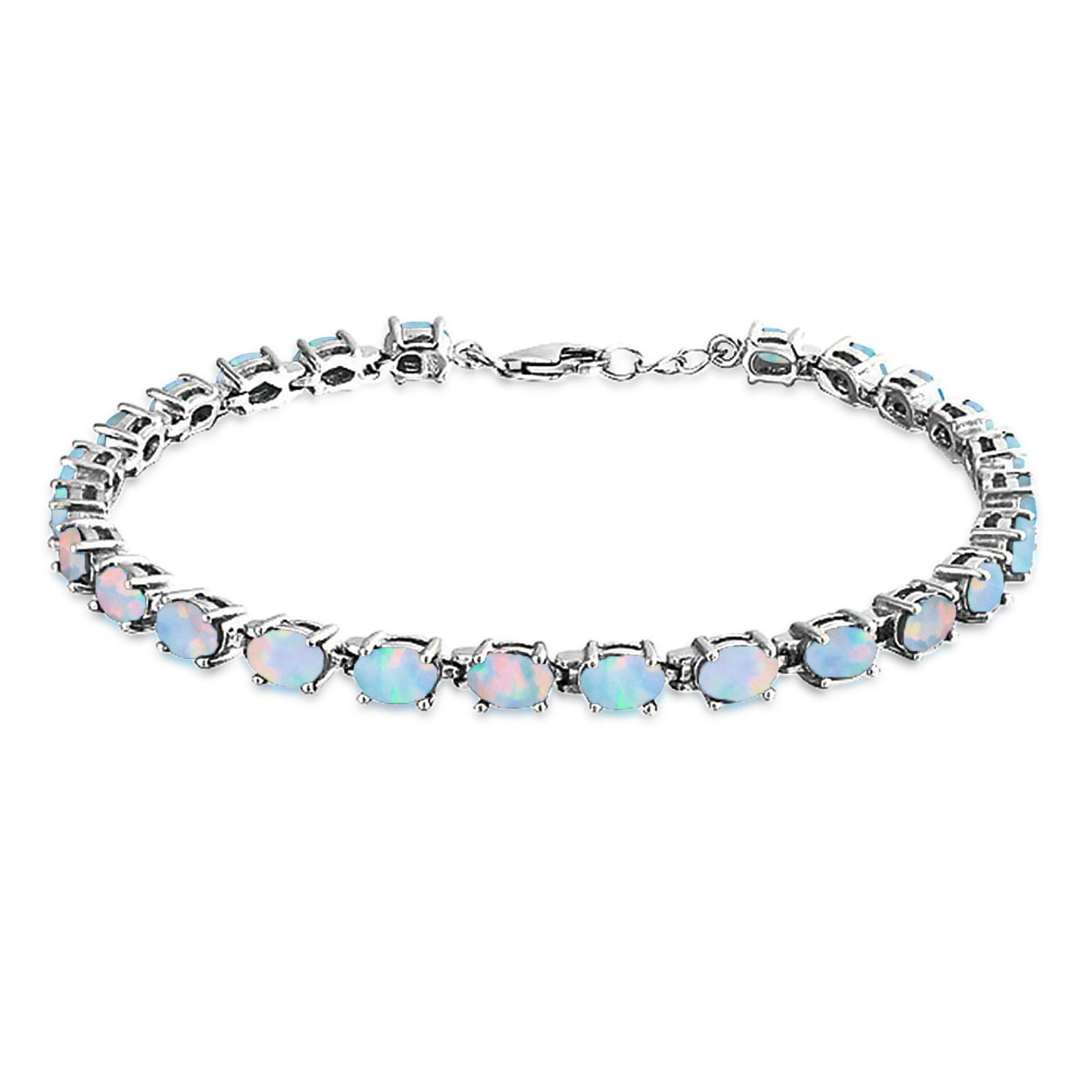 Bling Jewelry 925 Silver Synthetic White Opal Oval Tennis Bracelet 7.5in by Bling Jewelry