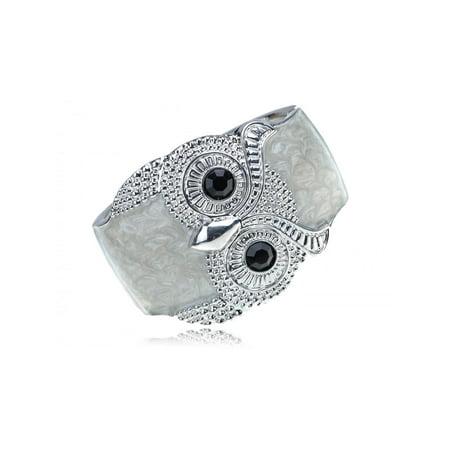 owl white enamel bracelet