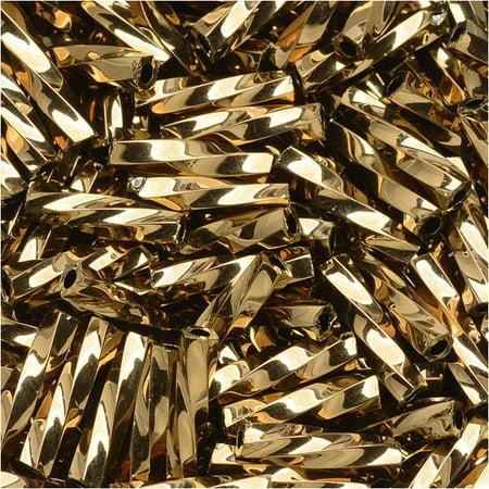 Toho Glass, Twisted Bugle Beads Size #3 9x2mm, 10 Grams, Bronze Glass Bugle Beads