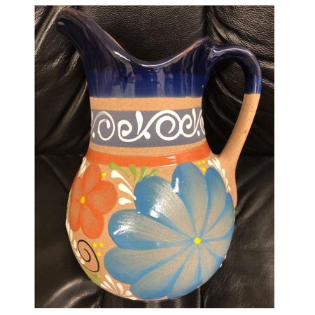 "Made in Mexico Authentic Mexican Water Carafe Drinks Jar Jarra Mexicana Espiga de Barro for Hot or Cold Beverages Drinks Clay Large 12x8.5"" W/Handle Hand Made Painted Glazed Large"