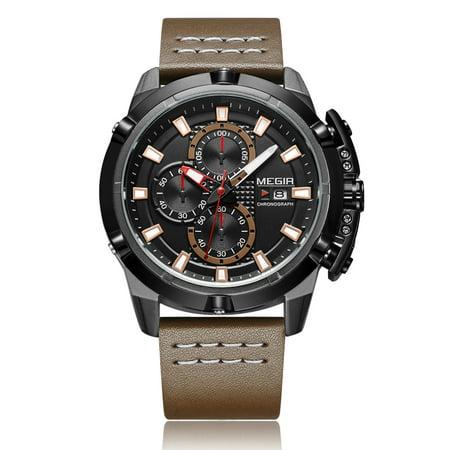 MEGIR Fashion Sport Men Watches 3ATM Water-resistant Quartz Luminous Man Wristwatch Relogio Musculino Chronograph Calendar - image 1 of 3