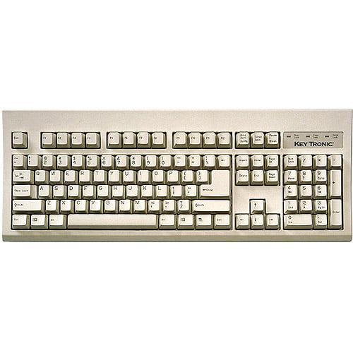 Keytronic PS2 Compact Keyboard, 104-Key, Gray