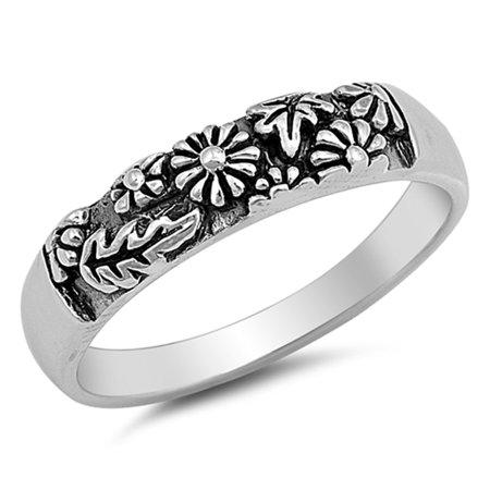 Men Women Sterling Silver 5mm Leaf And Flower Carved Band Engagement Ring
