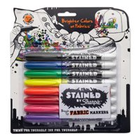 Stained by Sharpie Permanent Fabric Markers, Assorted Colors, 8 Count