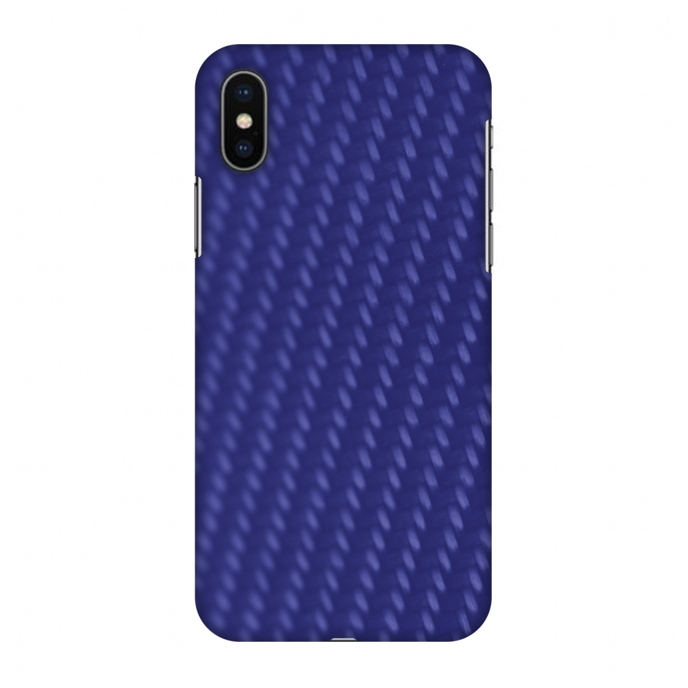 iPhone X Case, Premium Handcrafted Designer Hard Shell Snap On Case Printed Back Cover with Screen Cleaning Kit for iPhone X, Slim, Protective - Carbon Fibre Redux Coral Blue 13
