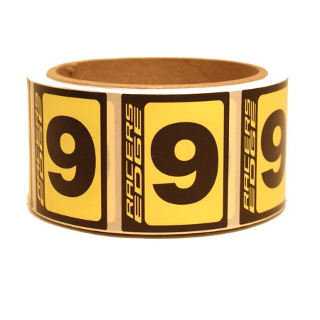 Racers Edge Rce9079 #9 Race Number Black/Yellow (300 Piece Roll)