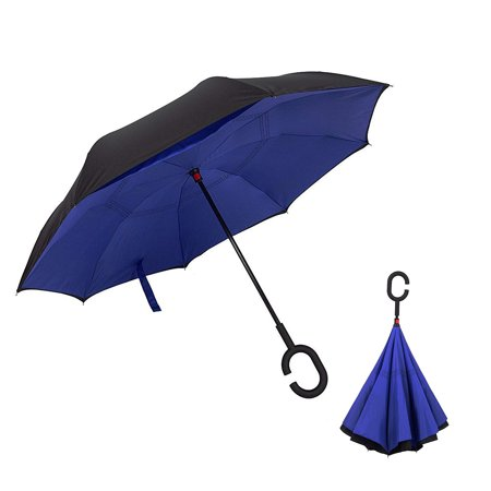 Inverted Umbrella Windproof Reverse Double Layer Umbrella with C-shaped Hands Blue B11845-2 -