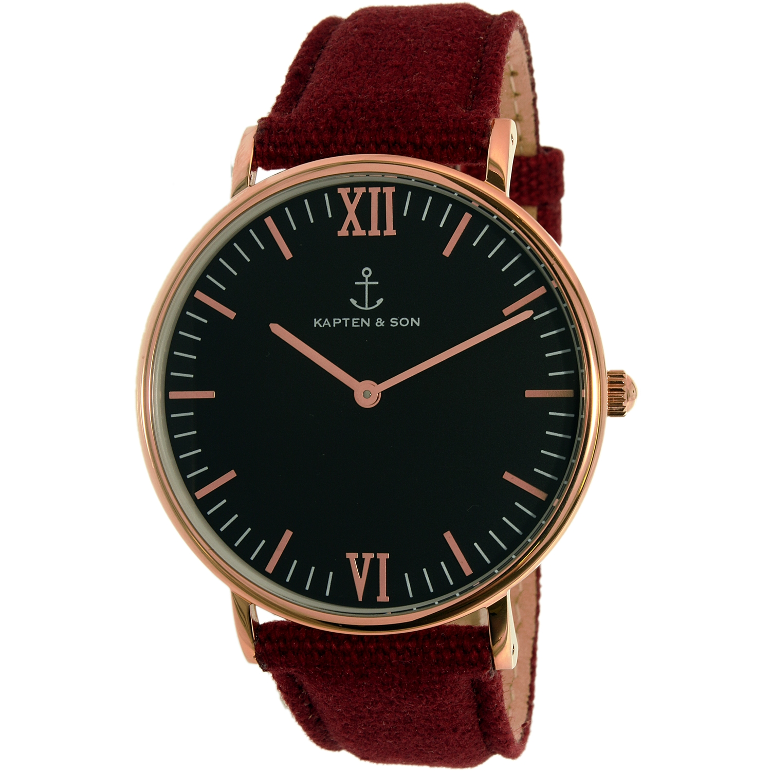 Kapten And Son Men's Campus CAMPUS-BLACK-BORDEAUX CANVAS-ROSE GOLD-40MM Rose Gold Leather Quartz Dress Watch