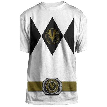 Power Rangers Mighty Fine Ranger Costume Adult White - Power Rangers T Shirt Adults