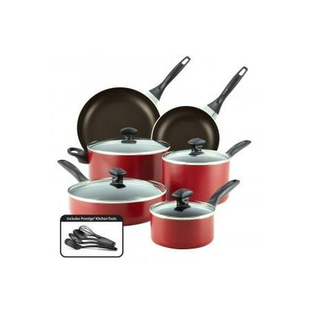 Farberware Dishwasher Safe Aluminum Nonstick 14-Piece Cookware Set, Red