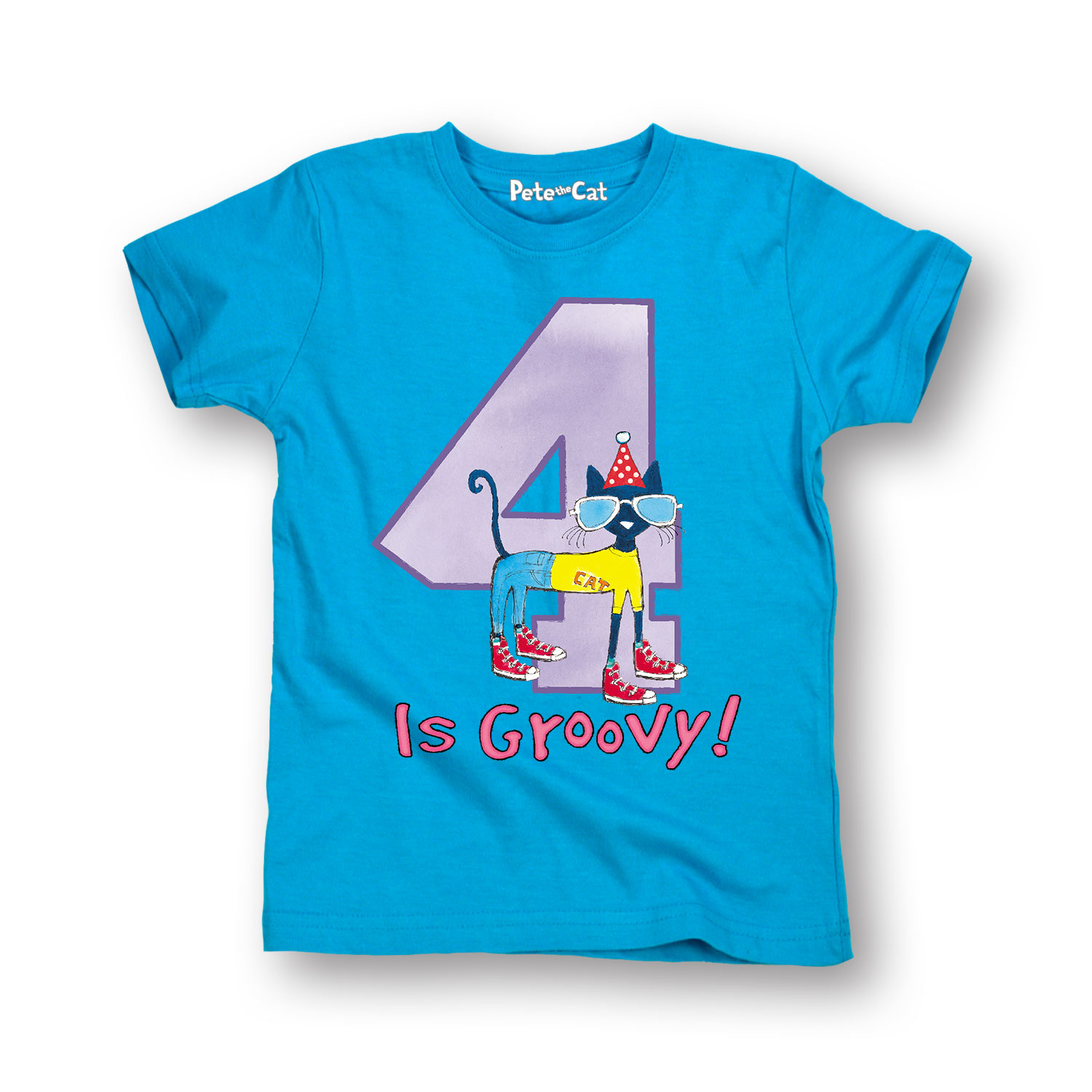 Pete The Cat 4Th Birthday Girls - Toddler Short Sleeve Tee
