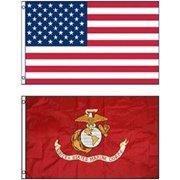 G128 - Wholesale LOT 3' X 5' USA AMERICAN & USMC MARINE CORPS EGA FLAG Banner 3X5