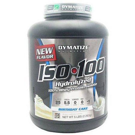 Dymatize Iso 100 Whey Protein Isolate Powder Birthday Cake 25g 5 Lb