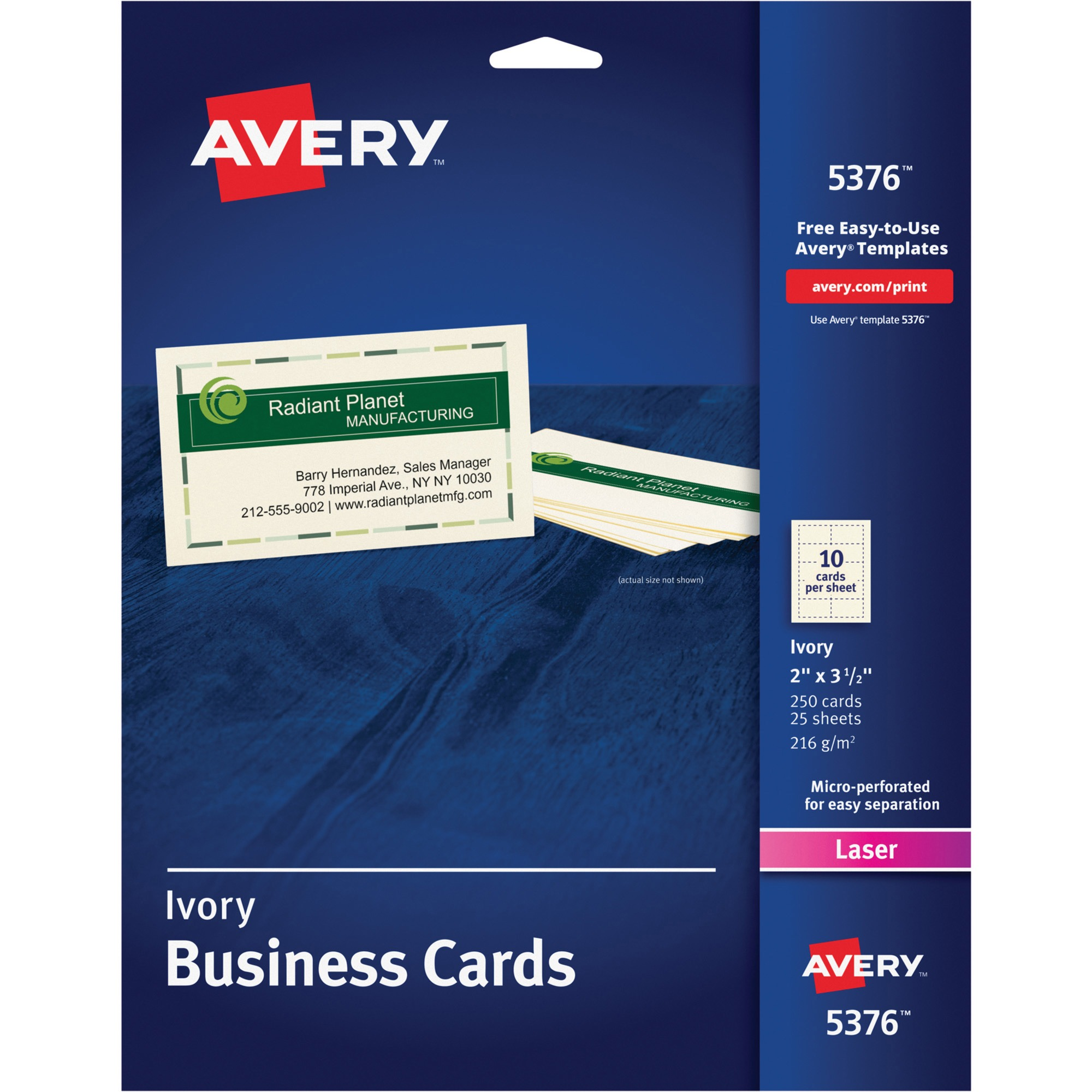 Avery Printable Microperf Business Cards, Laser, 2 x 3 1/2, Ivory, Uncoated, 250/Pack