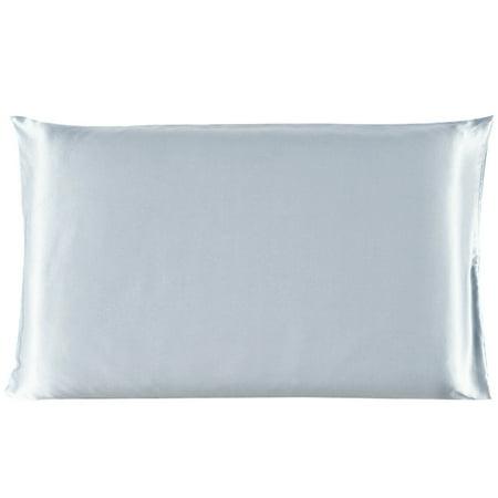 Piccocasa 100% Mulberry Silk Fabric Pillow Case Cover Pillowcase Silver Gray King