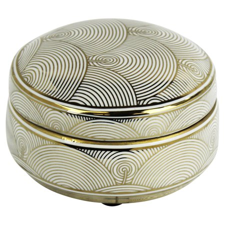 Gold Scallop (Sagebrook Home White and Gold Scallop Jar)
