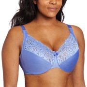Glamorise Women's Natural Wire Satin And Lace Bra, Lavender, 38 F