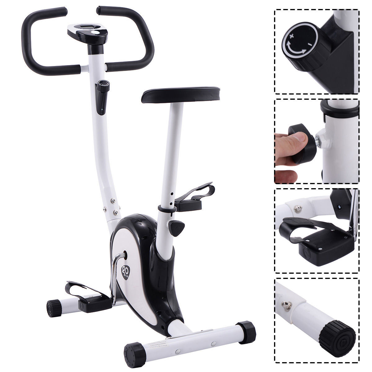 GHP Black & White Stationary Upright Workout Exercise Cycling Bike with LCD Screen
